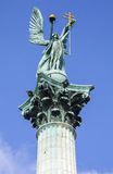Archangel Gabriel on top of the Heroes Square Column in Budapest Stock Images