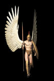 Archangel isolated on black. Winged warrior in with Grecian spear and shield isolated on black Stock Images