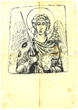 Archangel Michael. Hand-drawn (with good precision level of detail), a series of four archangels. The other three also in the portfolio Royalty Free Stock Image