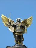 Archangel michael. Statue from bronze gilded in kiev, ukraine Stock Image