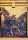 Archangel Michael. Altarpiece in the Basilica of the Sacred Heart of Jesus in Zagreb, Croatia Stock Photography