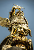 Archangel Michael fighting the dragon from the tower of the chur Royalty Free Stock Image