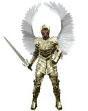 Archangel Michael in Golden Armour. The Archangel Michael in golden armour carrying a sword, 3d digitally rendered illustration Royalty Free Stock Images