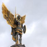 Archangel Michael, Kiev. Archangel Michael, the patron saint of Kiev in Independence Square royalty free stock photo