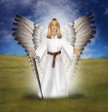Archangel Michael with a sword, standing on a field. Illustration of the guardian archangel Michael. With a sword in his hand to protect people against all evil Stock Photos