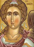 Archangel Michael. A unique hand painted byzantine icon with egg tempera on wood Royalty Free Stock Photography