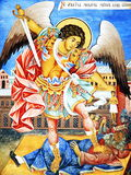 Archangel Michael Wall Icon. A wall drawn icon of Archangel Michael taken at the Rila Monastery in Bulgaria - a major landmark in the country, which was built in Stock Photos