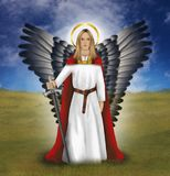 Archangel Michael who fights against all evil. Illustration of the hero Michael Gods archangel who fights against all evil. He has his own day in the church Royalty Free Stock Photo