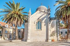 Archangel Michale orthodox church in the Old Town in Herceg Novi, Montenegro royalty free stock photography