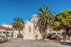 Archangel Michale orthodox church in the Old Town in Herceg Novi, Montenegro royalty free stock photo