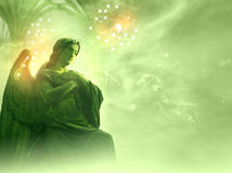 Archangel Rafael. Over a green background with stars and gate stock image