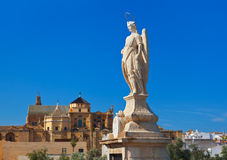 Archangel Raphael statue at Cordoba Spain Royalty Free Stock Photography