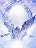 Archangel rising from Light. Rising Archangel angel with big wings bear a mystical gate over sky with Divine rays of Light royalty free stock photo