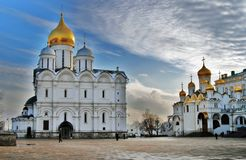 Archangels and annunciation cathedrals of Moscow Kremlin. Color photo. Stock Photos