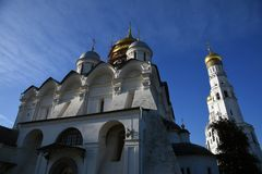 Archangels church and Ivan Great bell tower. Moscow Kremlin landmarks. UNESCO World Heritage Site. Archangels church and Ivan Great bell tower of Moscow Kremlin stock photo