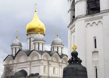 Archangels church and King Bell of Moscow Kremlin. Color photo Stock Photo
