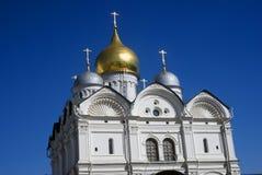 Archangels church. Moscow Kremlin. Blue sky background. Royalty Free Stock Photos