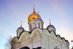 Archangels church of Moscow Kremlin. Blue sky background. Stock Image