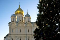 Archangels church of Moscow Kremlin. Color photo. Archangels church of Moscow Kremlin. Christmas and New Year 2018 tree on Sobornaya square. Popular touristic Royalty Free Stock Photos
