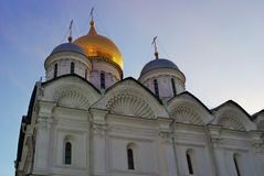 Archangels church of Moscow Kremlin. Blue sky background. Royalty Free Stock Images
