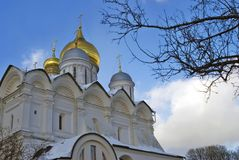 Archangels church in Moscow Kremlin. UNESCO World Heritage Site. View of the Archangels church in Moscow Kremlin, a popular touristic landmark. UNESCO World Royalty Free Stock Photos