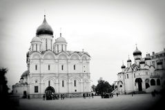 Archangels church and Sobornaya Square. Moscow Kremlin. Stock Images
