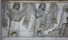 Archangels Raphael and Gabriel. Detail of marble carvings on the Baptistery, Parma Emilia-Romagna Italy Stock Images