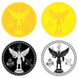Archanioła Michael medalu złoto i czarna pełnia ilustracja wektor