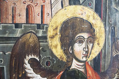 Archanioła olej na drewnianym ikona obrazu szczególe obrazy royalty free