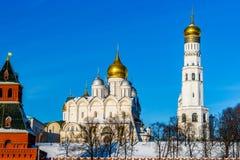 Archanioła Ivan i katedra Wielka dzwonnica Moskwa Kremlin Obraz Stock