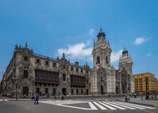 Archbishop's palace of Lima, the capital of Peru. Beautiful Archbishop's palace of Lima, the capital of Peru royalty free stock photo