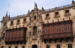 The Archbishop Palace in Lima. The Archbishop Palace is the home of the Archbishop of Lima. It is a popular tourist attraction in the Historical centre of Lima Royalty Free Stock Image