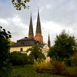 Archbishop´s house and Cathedral. The Archbishop´s house and Cathedral in Uppsala from the garden an autumn day stock images
