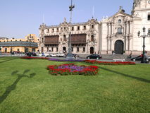 Archbishop`s palace and part of the cathedral, Lima stock photo