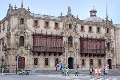 Archbishop's Palace on Plaza Mayor in Lima, Peru. Stock Image