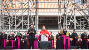 Archbishop Scola at San Siro stadium in Milan, Italy Royalty Free Stock Photos