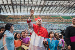 Archbishop Scola waves 50.000 teenagers at San Siro stadium in Milan, Italy Stock Photos