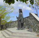 Bronze statue of archbishop. Statue of Archbishop Makarios, first President of the Republic of Cyprus in Pedoulas village, Cyprus Royalty Free Stock Photos