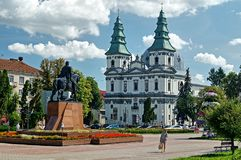 Archbishopric Cathedral is the most famous landmark of Ternopil. Royalty Free Stock Photo