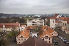Archdiocese πόλης εικονικής παράστασης πόλης Kaunas παλαιά εναέρια άποψη σπιτιών Στοκ Φωτογραφία