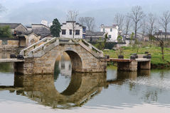 Arched bridge. The arched bridge, the characteristic building of the southern countryside of China Royalty Free Stock Images
