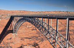 Arched bridge across a canyon. Arched steel bridge across the canyon of Colorado river in Page, Arizona Stock Photography