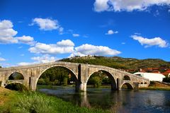 A arched bridge in bosnia and herzegovina stock photography