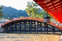 Arched Bridge in Itsukushima Shrine Stock Photo