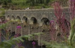 Arched bridge over reservoir royalty free stock photo
