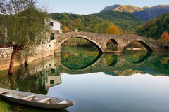 Arched bridge reflected in Crnojevica river, Montenegro Royalty Free Stock Images