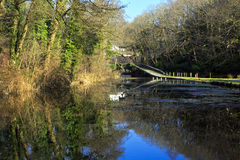 Arched bridge reflected in the Tennant Canal Royalty Free Stock Photography