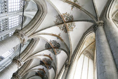 Arched ceiling of breda cathedral in the netherlands Stock Photos