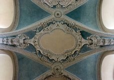 Arched Ceiling of Catholic Church in Prague Stock Photo