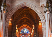 Arched ceiling inside cathedral. Impressive arched ceiling inside Liverpool Cathedral Royalty Free Stock Photography